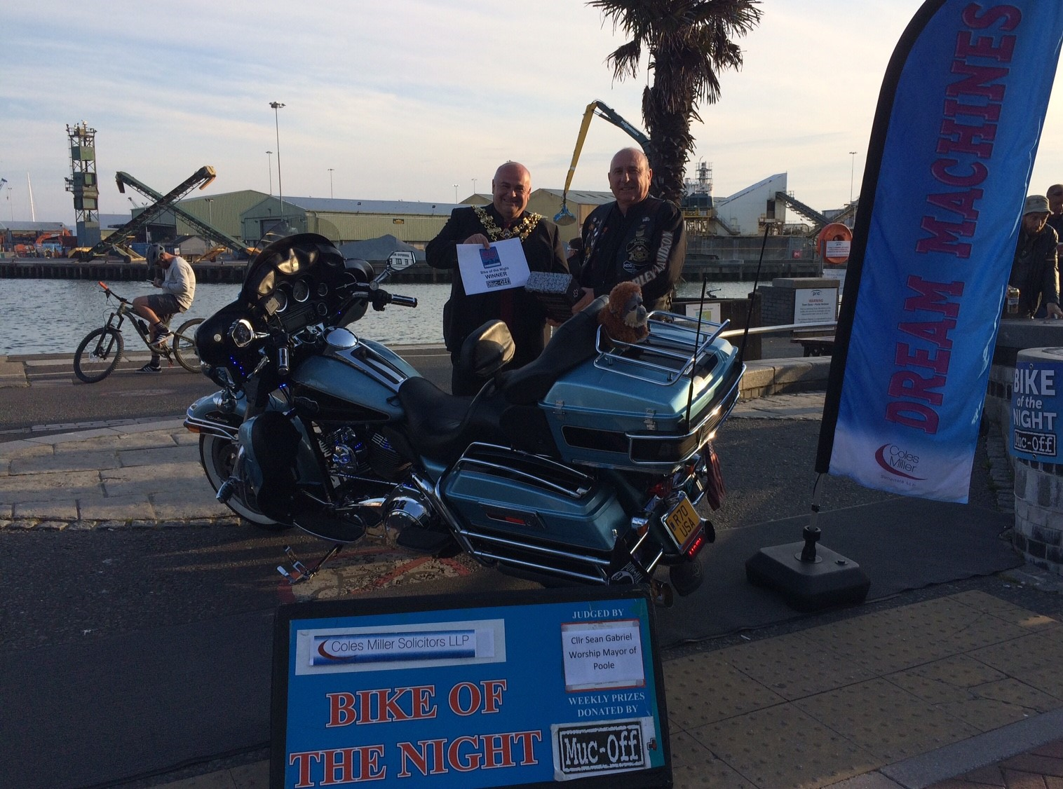 Winning Motorbike and owner on Poole Quay