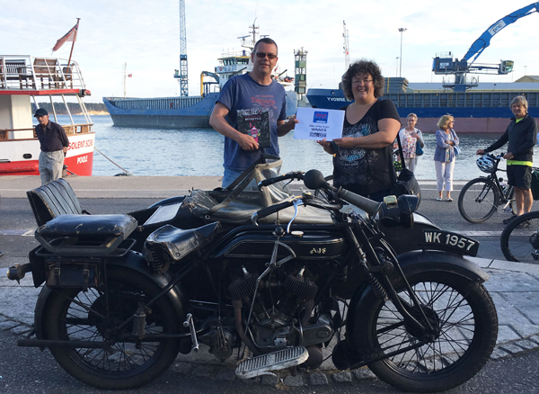 Bike of the Night 10th July. Winner with AJS Motorcycle on Poole Quay.