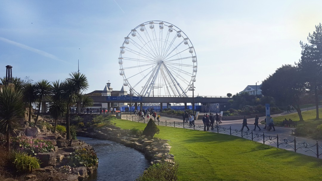 A view up from the Bournemouth lower gardens at the spectacular big wheel.