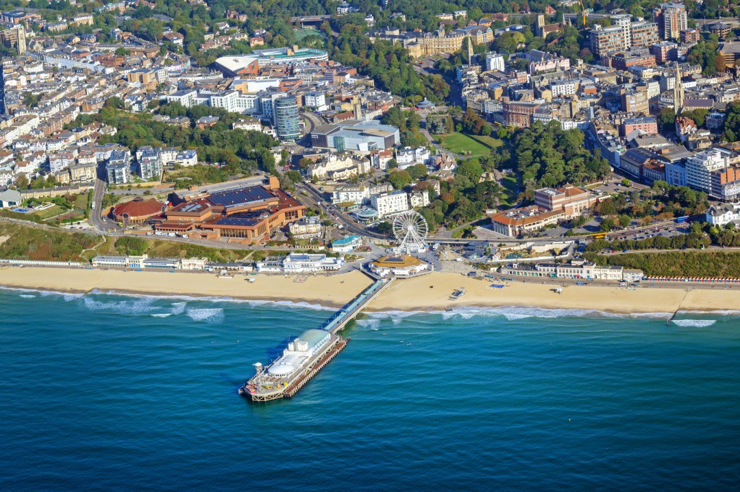 An aerial view of the Bournemouth town centre encompassing the glorious beach and entertainment complex at BH2