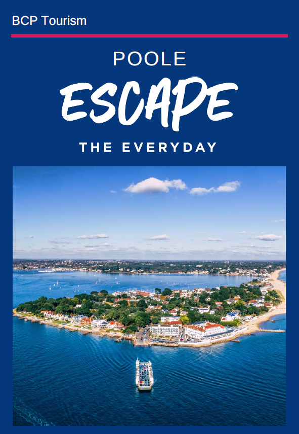 Front page of the Poole itinerary with a birds eye shot overlooking Sandbanks