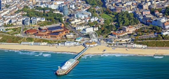 A view of the glorious Bournemouth town center encompassing the beach and the new entertainment complex at BH2.
