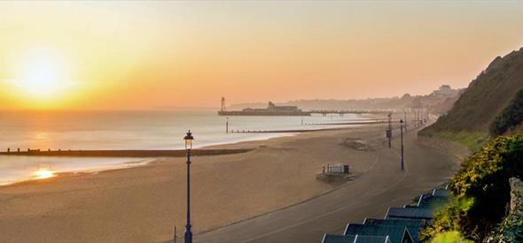 Beautiful sunset over Bournemouth beach and pier
