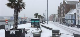 Poole Quay covered in snow