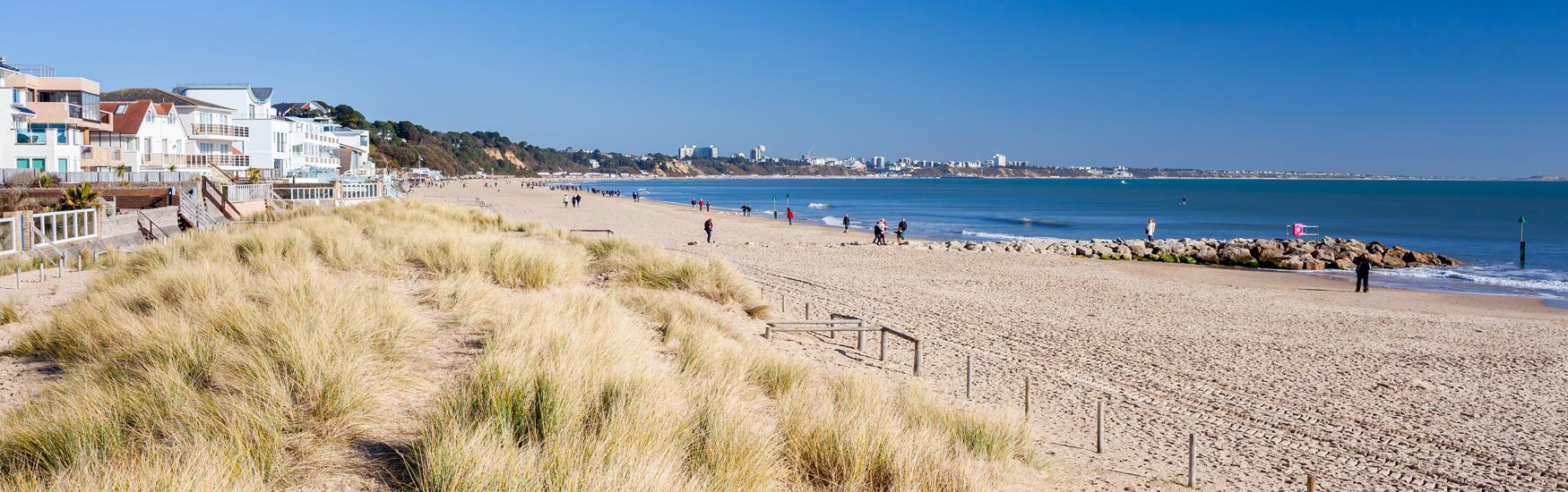 Landscape view of Sandbanks Beach with buildings on the left hand side and sandy beach on right with sea in background