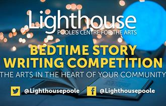 Lighthouse bedtime story poster with social media handles