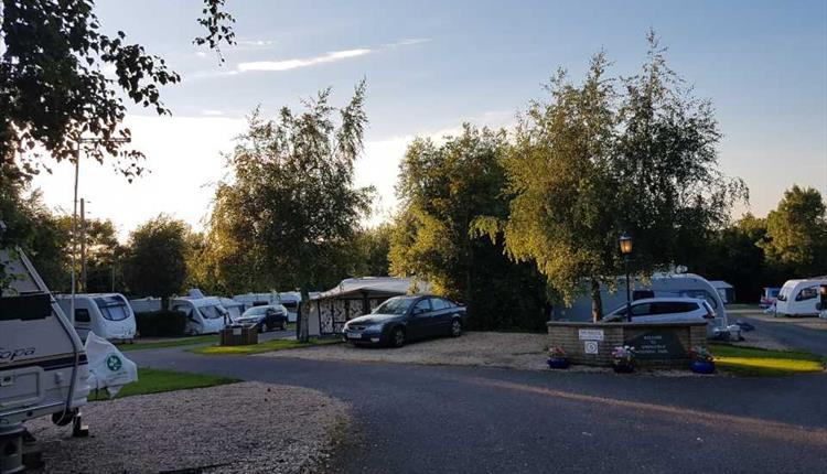 Sun setting over the caravans at Springfield touring park