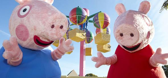 Peppa Pig having fun with his brother at Paultons Park