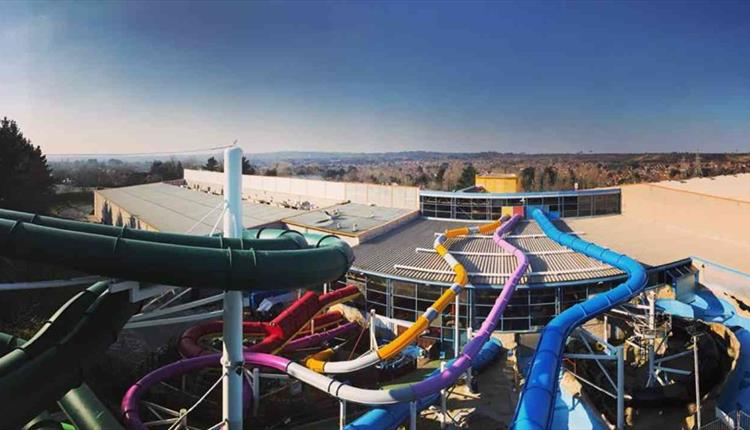 View overlooking all the waterslides at splashdown in tower park