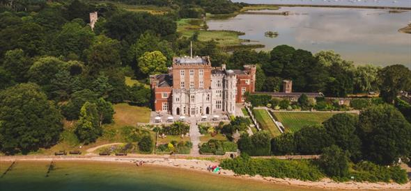 Aerial photograph of Brownsea island castle