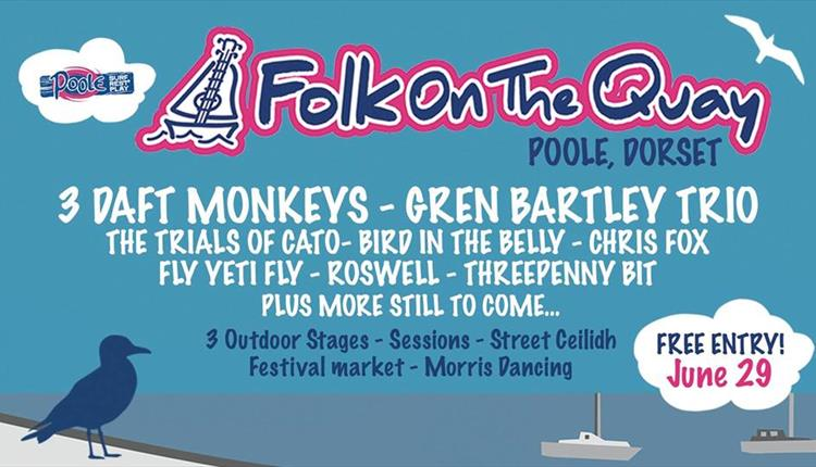 Folk on the Quay poster showing bands performing.