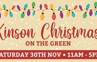 Kinson Christmas logo/banner with fairy lights and festive decoration.