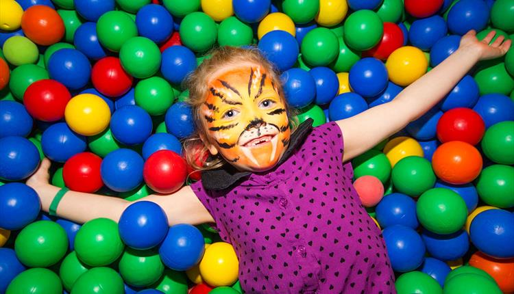 Get your face painted and play in the Ball Pit at Lemur Landings