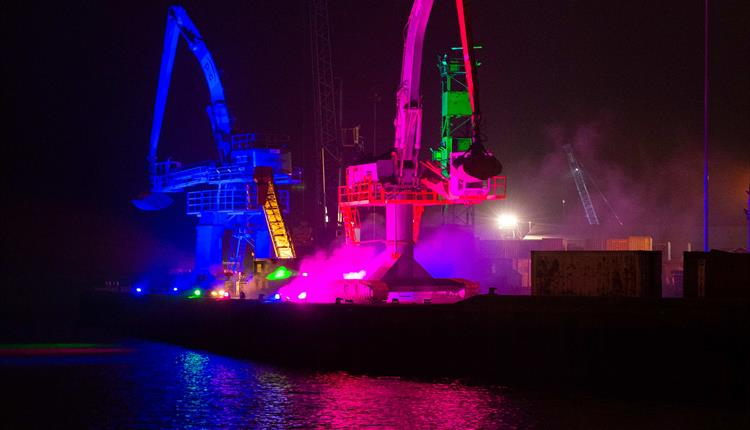 Lit up harbour cranes - image credit Elliott Franks