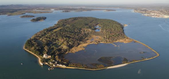 Incredible birds eye view of brownsea island in Poole harbour