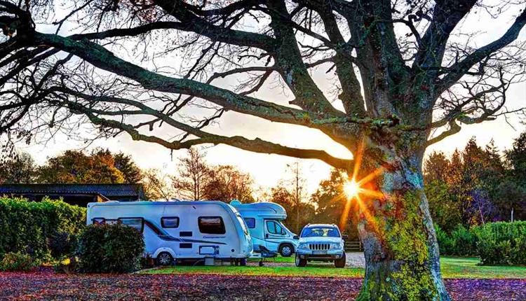Sun rising over caravans and motor homes at Lychett manor