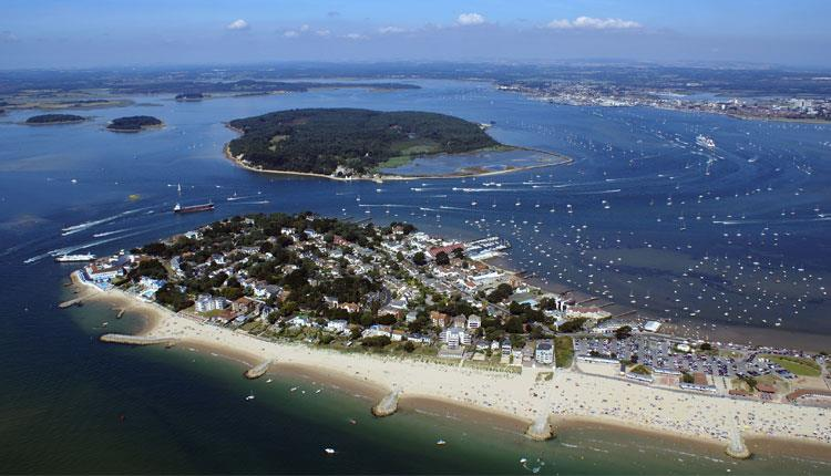 Aerial view of Poole Harbour Brownsea Island & Sandbanks
