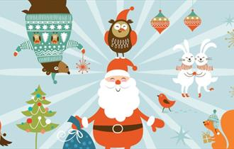 Colourful Christmas illustrations with cartoon animals and santa smiling