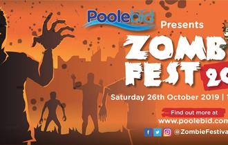 Orange background with cartoon zombies in front and information about the event