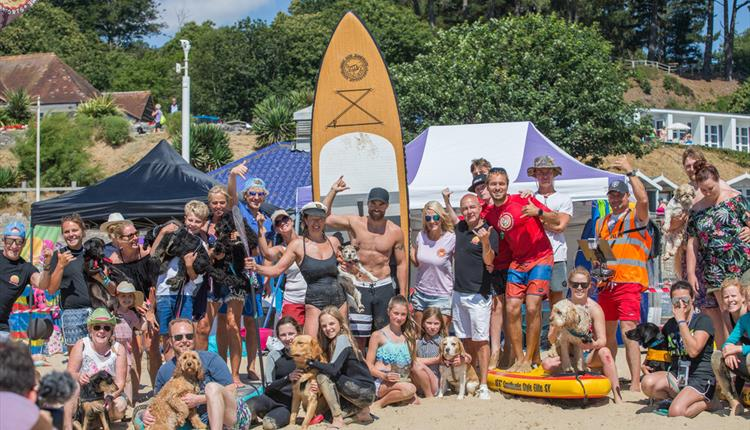 Group photo of shaka surf crew on the beach