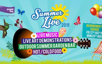 Vibrant and fun Summer Live event banner with location times and information